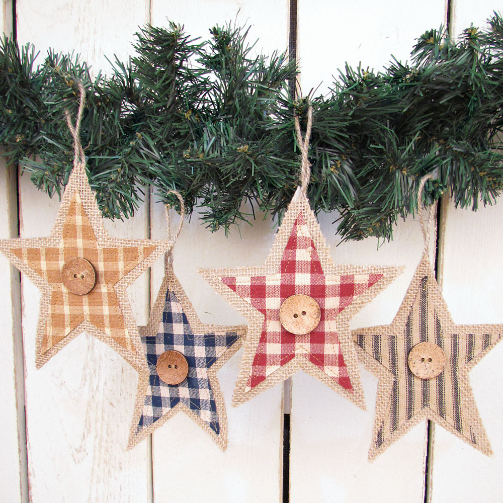 Primitive Homespun Fabric & Burlap Rustic Star Christmas Ornaments - Set of 5 - by Jubilee Creative Studio
