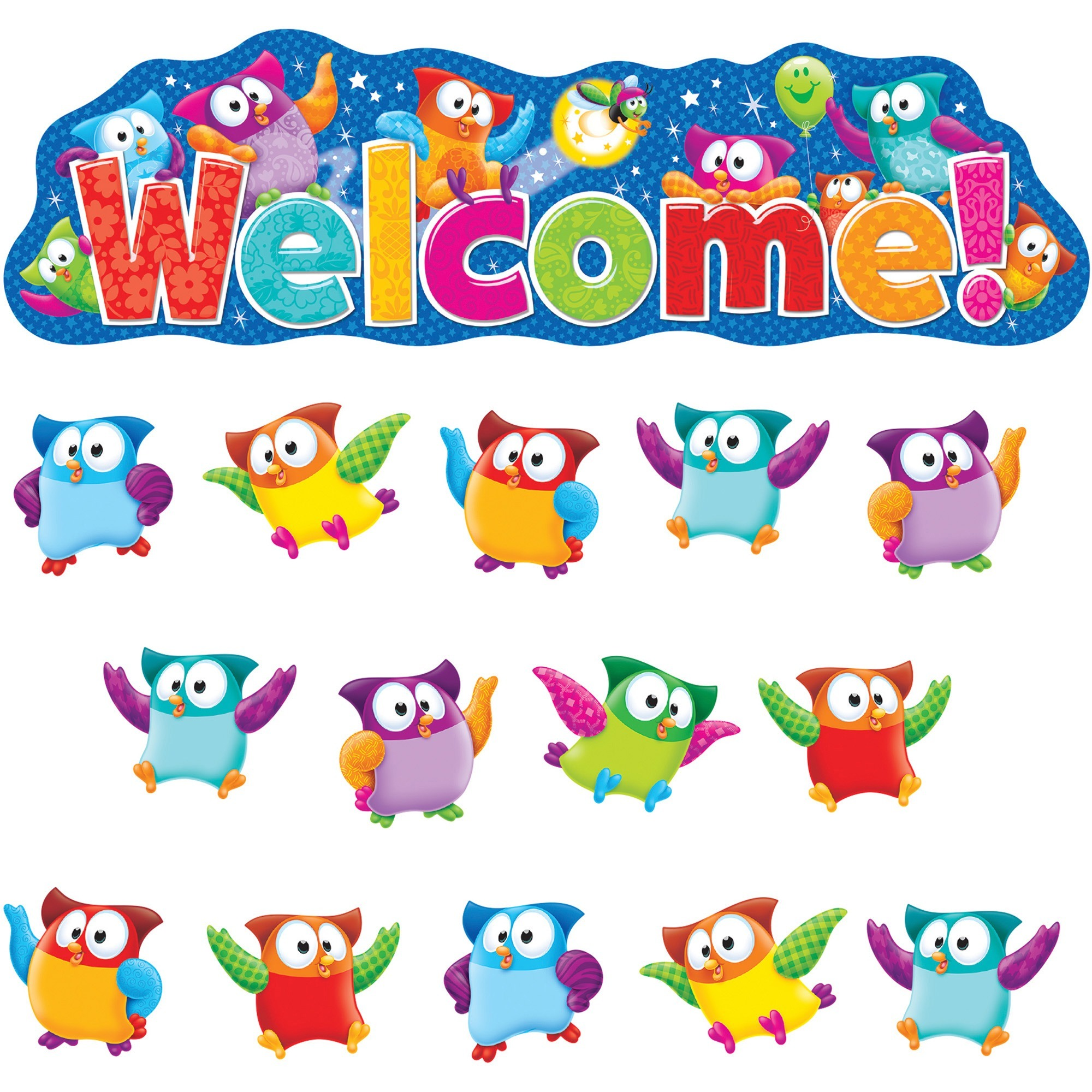 Trend Owl-Stars! Welcom Bulletin Board Set, Multicolor, 38 / Set (Quantity)