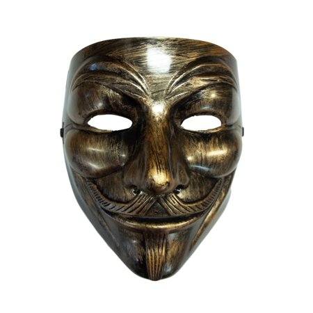 Brushed Bronze Guy Fawkes Anonymous V for Vendetta Halloween Costume Mask - V Halloween Mask