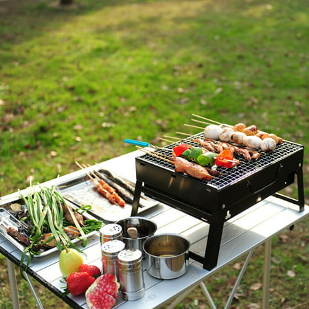 Black BBQ Portable Folding Barbecue Stove Garden Party Outdoor Camping Picnic Stove Wood Charcoal Grill Box ()