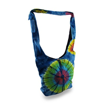 Colorful Cotton Tie Dye Bursts Sling Bag w/Cell Phone Pocket