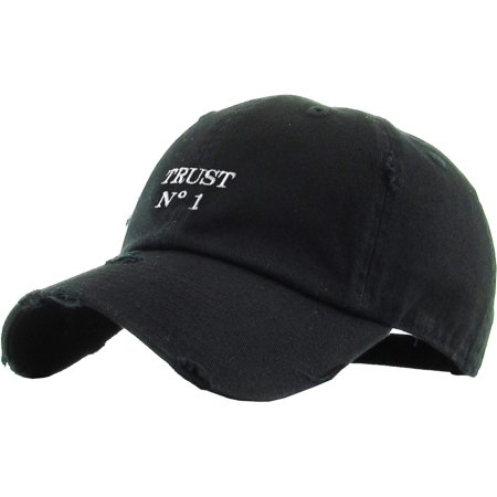 Trust No 1 Black Vintage Distressed Dad Hat Baseball Cap Polo Style - Tam O Shanter Hat