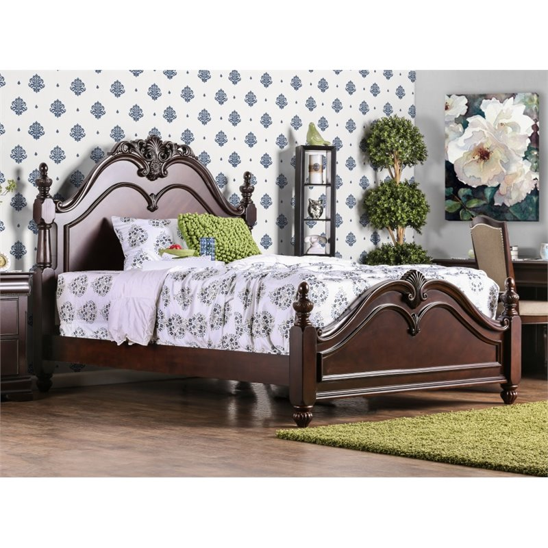 Furniture of America Ruben King Poster Bed in Cherry by Furniture of America