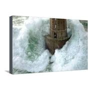 Phares dans la Tempete ? La Jument Coastal Lighthouse Photo Stretched Canvas Print Wall Art By Jean Guichard