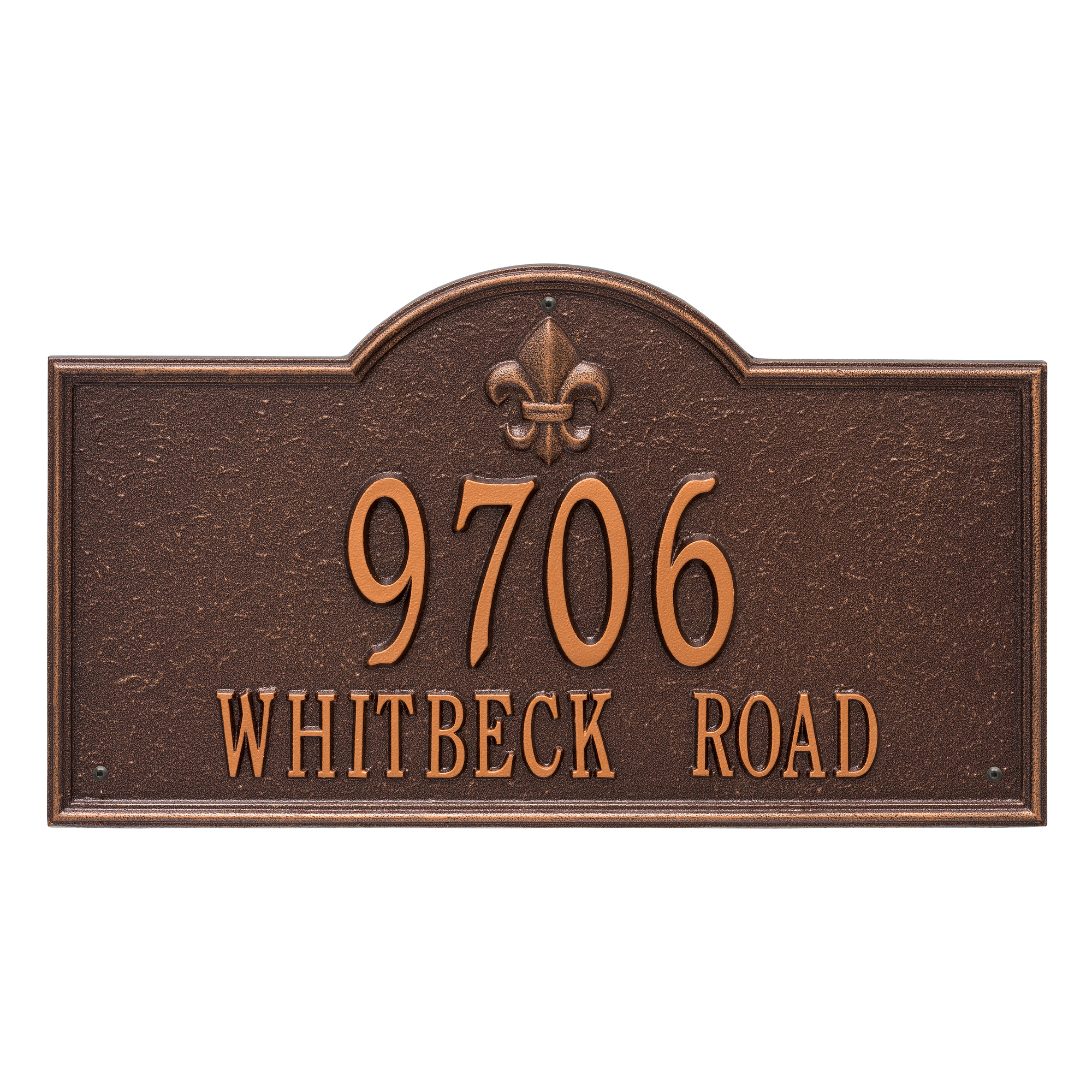 Personalized Whitehall Products Bayou Vista Estate 2-line Address Plaque in Antique Copper by Whitehall