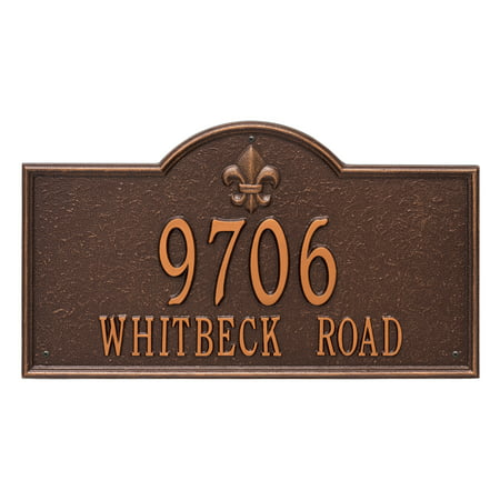 Personalized Whitehall Products Bayou Vista Estate 2 Line Address Plaque In Antique Copper