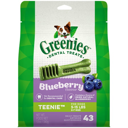 Flavored Chew Sticks - Greenies Teenie Natural Dental Dog Treats, Blueberry Flavor, 12 oz. Pack (43 Treats)