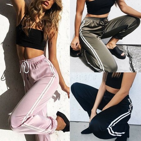 Sateen Control Pants (Summer Women High Waist Elastic Satin Harem Pants Jogger Dance Trousers Bottoms)