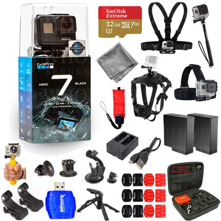 GoPro HERO7 HERO 7 Action Camera (Black) Pro Accessory Kit with Extra Batteries and Charger, 32GB Micro SD, Head and Chest Strap, Dog Harness, Medium Case + MUCH