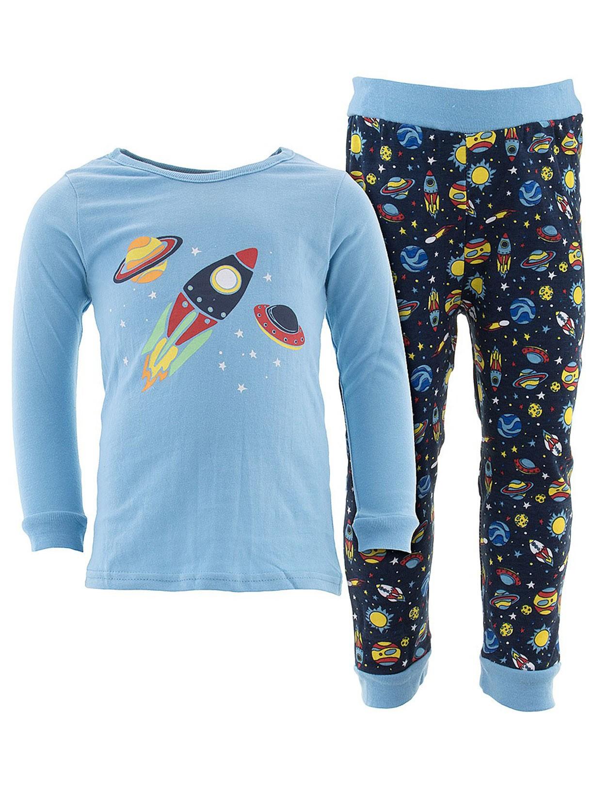 Sweet & Soft Little Boys Blue Rocket Cotton Pajamas