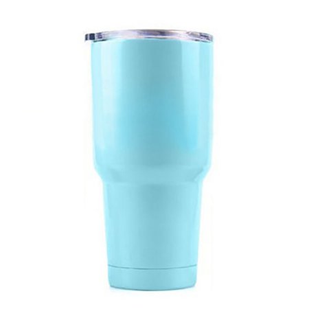 Aspire 12 20 30 Ounce Stainless Steel Tumbler, Double Walled Insulated Travel Mug Wine Glass, Keep Cold or Hot for Hours-Light Blue-30 Ounce Glass Travel Mugs