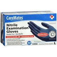 CareMates Powder Free Nitrile Examination Gloves, Large, 50 Count