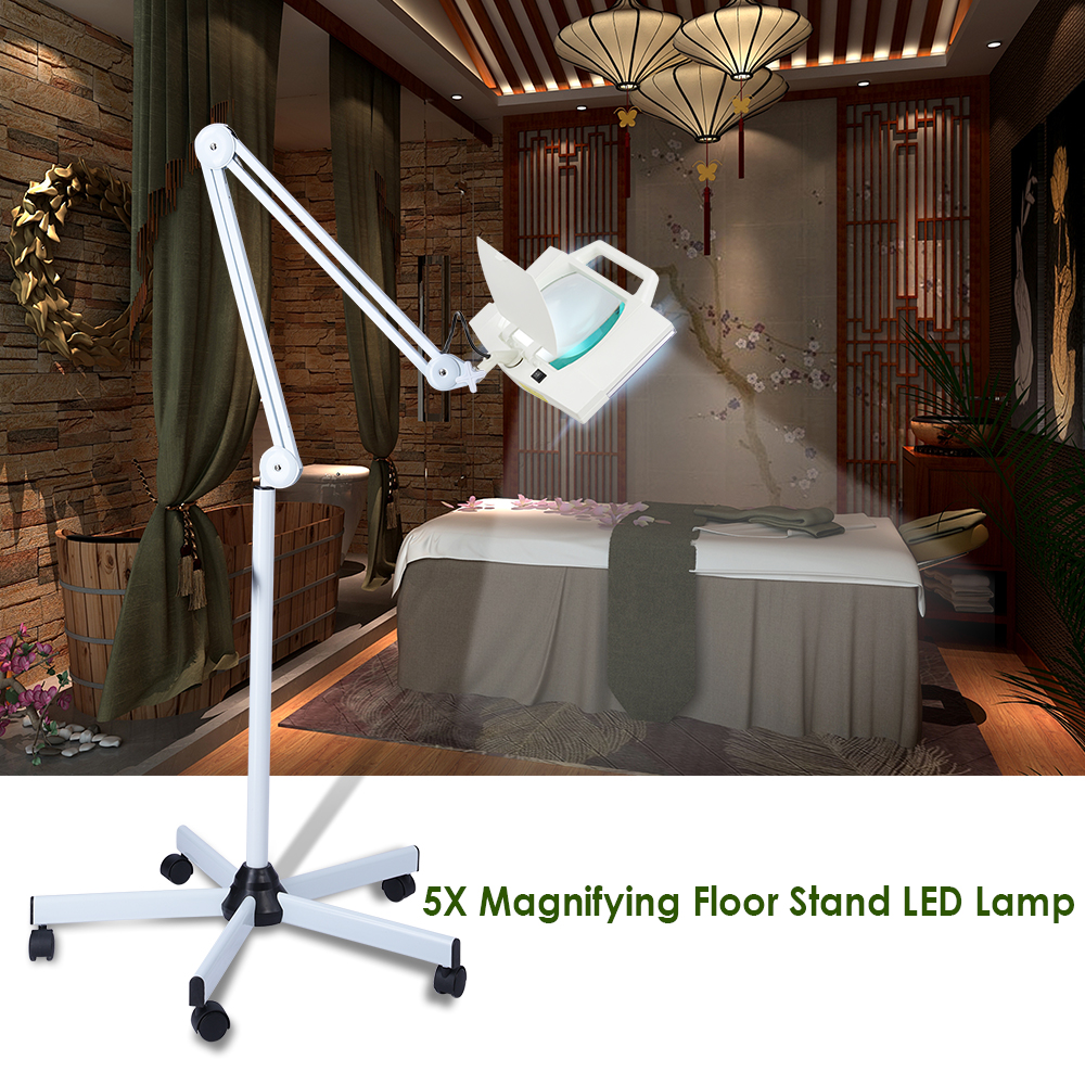 5X Magnification Rolling Floor Stand Magnifying Magnifier LED Lamp Square Salon Equipment Reading