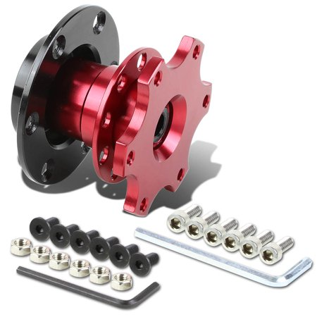 """6-Hole Pull Ball Bearing Style 2"""" Thick Steering Wheel Short Quick Release Hub Adapter (Red)"""