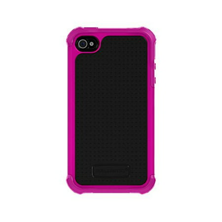 SA0582-M365 Shell Gel Series Case for Apple iPhone 4/4S - Retail Packaging - Black/Hot Pink, Engineered Six-Sided 6 ft. high IMPACT DROP PROTECTION By Ballistic