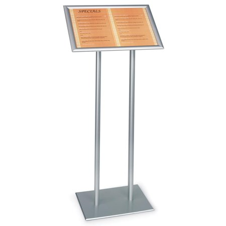 22 x 48 x 14-Inch, Silver Finish Poster Stand With Double Pole Base, Free-Standing, Snap-Open Frame With Clear Protective Lens (UCMB32Y521)