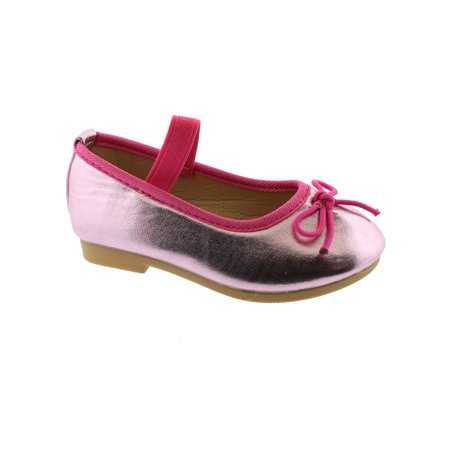 Kate Little Girls Metallic Pink Elastic Strap Bow Mary Jane Shoes