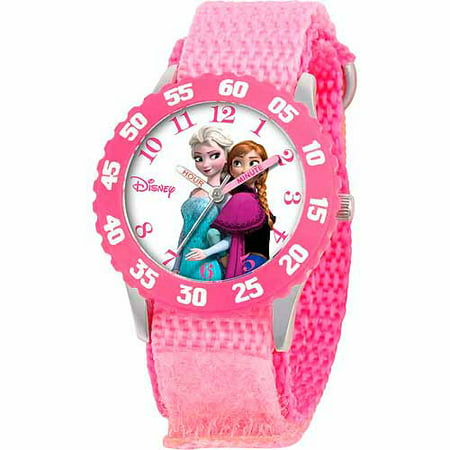 Disney Frozen Anna  Snow Queen Elsa Girls Stainless Steel Watch  Pink Strap