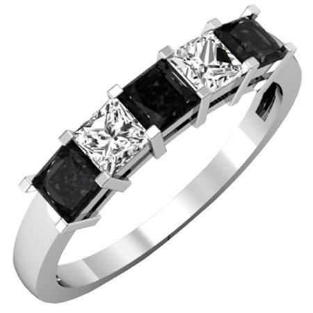 18k Pocket Watch (1.35 Carat (ctw) 18K White Gold Princess Cut Black & White Diamond 5 Stone Bridal Anniversary Band )