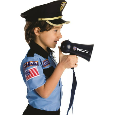Pretend Play Kids Police Officer's Megaphone with Siren Sound. Handheld Mic Toy (Police Badge Toy)