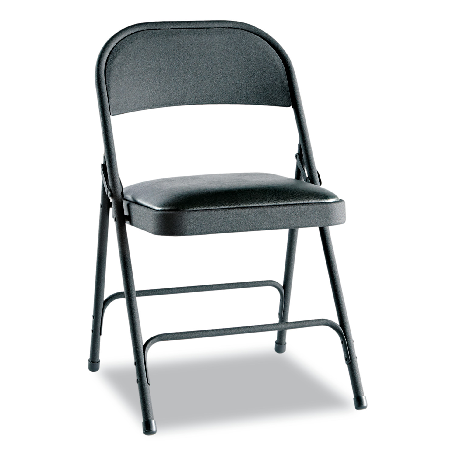 Alera Steel Folding Chair with Two-Brace Support, Padded Seat, Graphite, 4 Per Carton