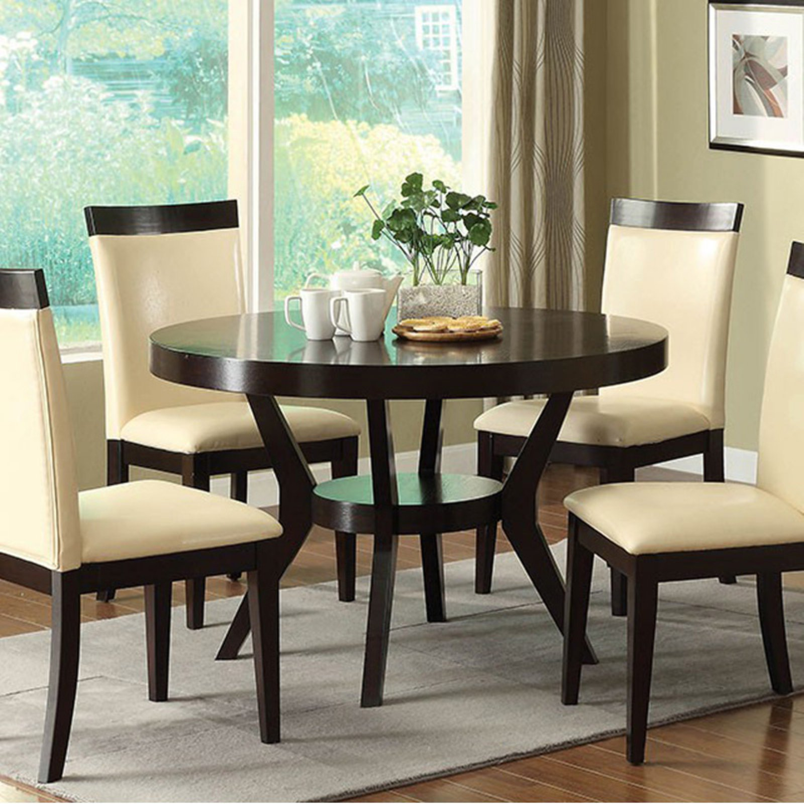 Downtown I Contemporary Round Dining Table, Espresso