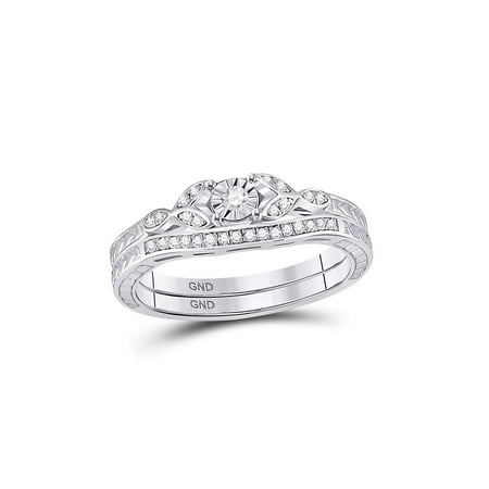 Sterling Silver Womens Round Diamond Bridal Wedding Engagement Ring Band Set 1/8