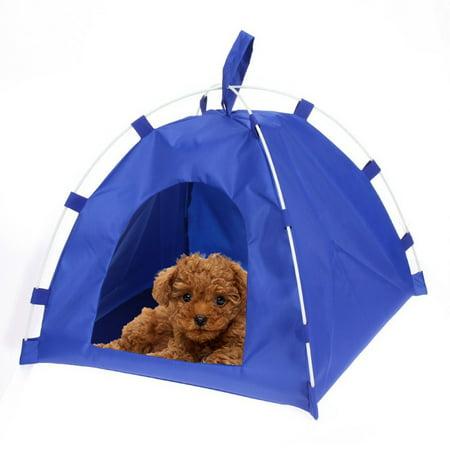 Pet Tent Dog Cat Oxford Cloth Fiber Rod Waterproof Detachable Folding Sleeping Bed Mat Puppy Kitten Summer Outdoor Travel Supplies ()