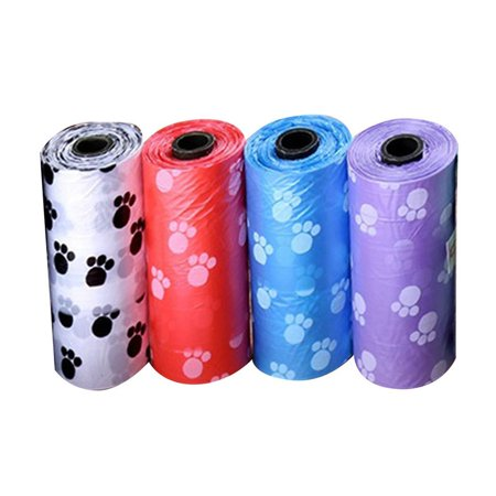 4 Rolls Printing Dog Cat Waste Garbage Clean Poop Refill Big Bags Pet Supplier (Pet Waste Bag Refills)