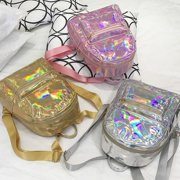 Fashion Women Hologram Holographic PU Leather Laser Backpack School Bookbag Tote