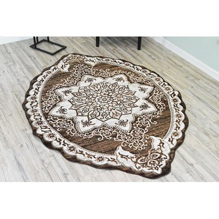 - TWIST Free Shape 3D Hand Carved Traditional 5x8 OVAL Rug Oriental 4737 Brown