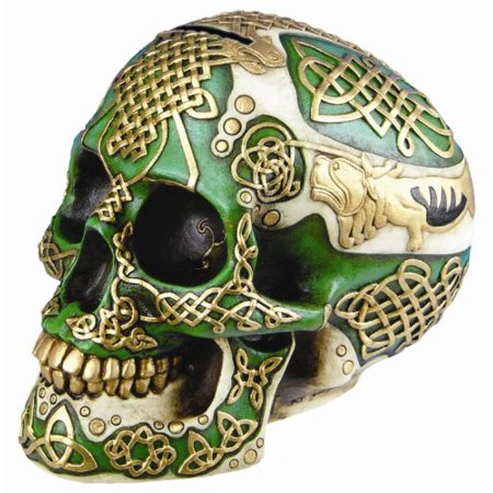 4 Resin Figurine (Figurine Celtic Lion Skull Bank Hand Painted Resin 6411 by)