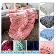 """39"""" x 47"""" Warm Soft Hand Chunky Knit Blanket Thick Yarn Bulky Bed Sofa Spread Throw 7 Colors"""