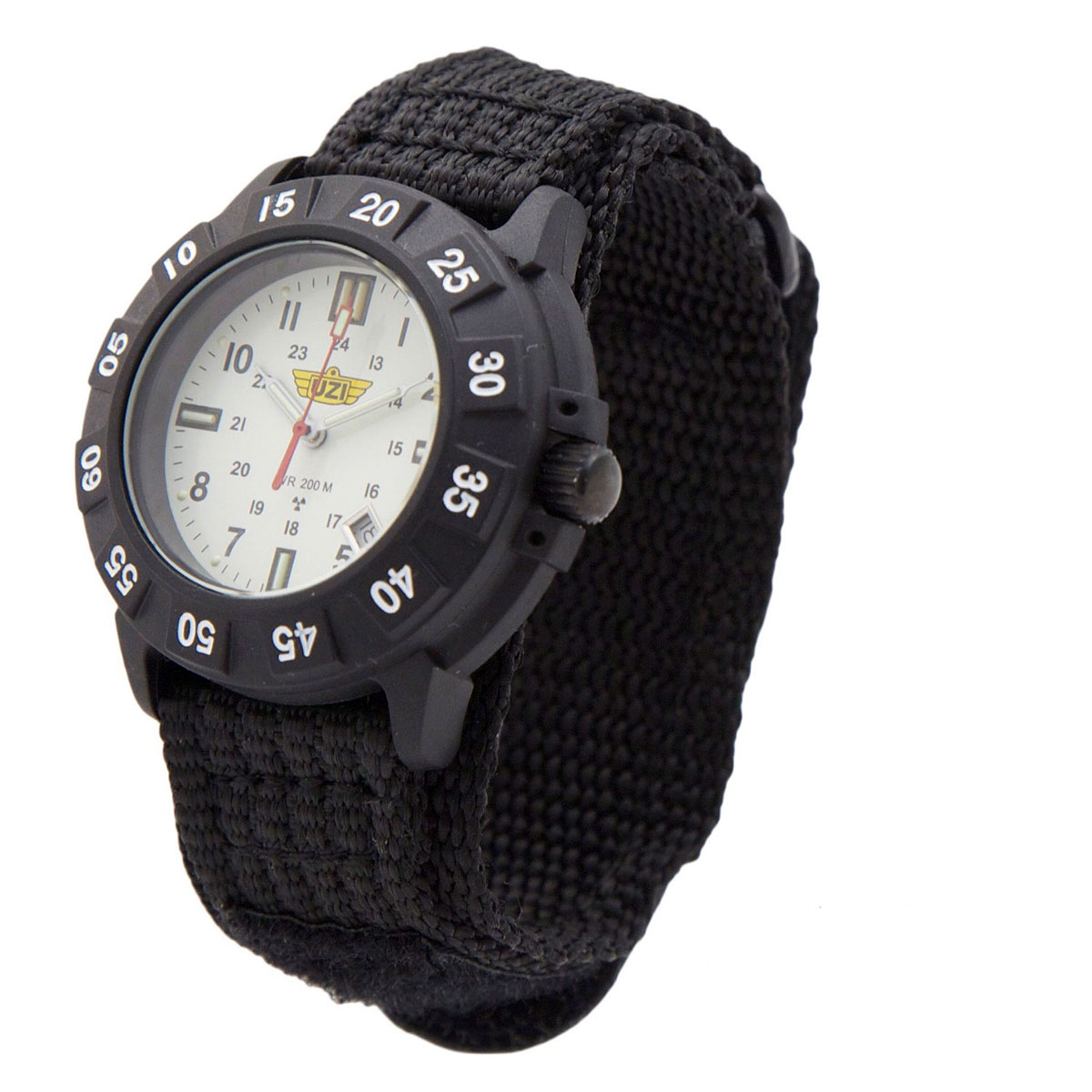 UZI  Protector Tritium Watch with White Face Nylon Strap - UZI-002-N
