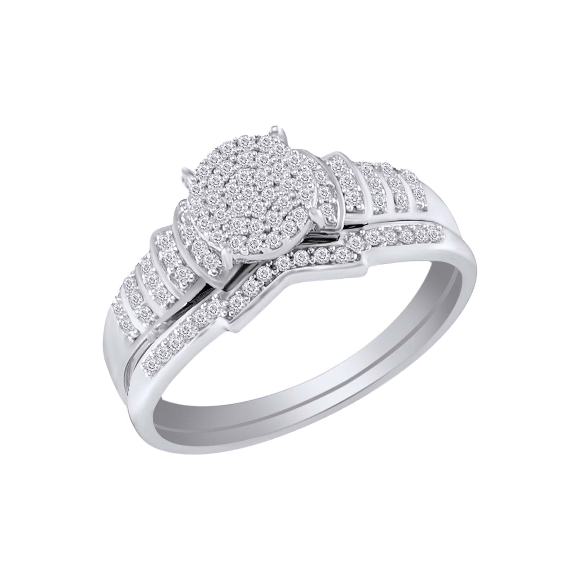 Wishrocks Round Cut White Cubic Zirconia Cluster Ring in 14K White Gold Over Sterling Silver