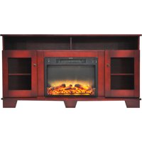 """Cambridge Savona Electric Fireplace Heater with 59"""" Entertainment Stand plus Enhanced Log and Grate Display"""