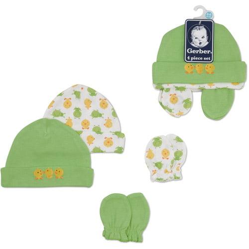 Gerber Newborn Baby 4 Piece Hat and Mitten Set