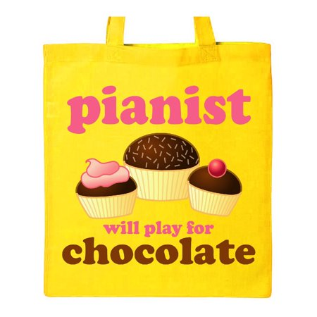 Piano Student Music Gift Play For Chocolate Tote Bag Yellow One (Best Tote Bags For College Students)