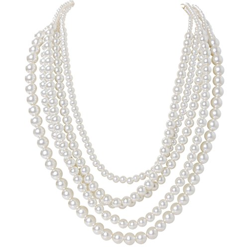 Humble Chic Women's Multistrand Simulated Pearls Long Layered Statement Necklace, White - 21""