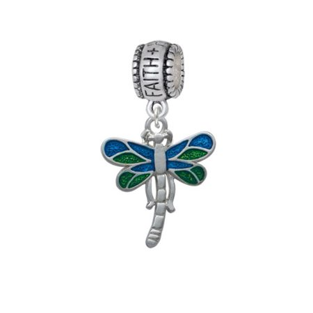 - Dragonfly with Green & Blue Wings - Faith Hope Love Charm Bead