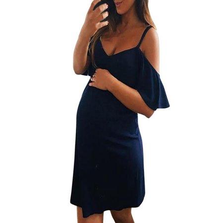 Fashion Womens Pregnants V-Neck Ruffles Nursing Maternity Solid Camis -