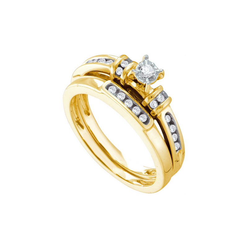 14K Yellow Gold 0.20ctw Shiny Channel Set Diamond Center Round Bridal Set Ring by Jewelrypot
