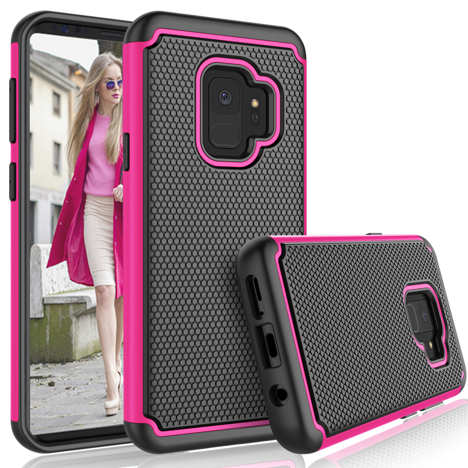 Galaxy S9 Case, Samsung Galaxy S9 Case For Girls, Tekcoo [Tmajor] Shock Absorbing [Rose] Hybrid Rubber Silicone & Plastic Scratch Resistant Rugged Solid Bumper Grip Cute Sturdy Hard Cases Cover