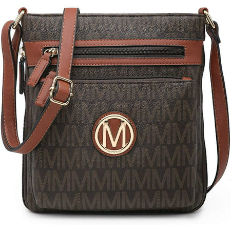 M MARCO Medium Crossbody Purses for Women Multi Pockets Crossover Bag Signature Monogram with Expandable Side Zippers