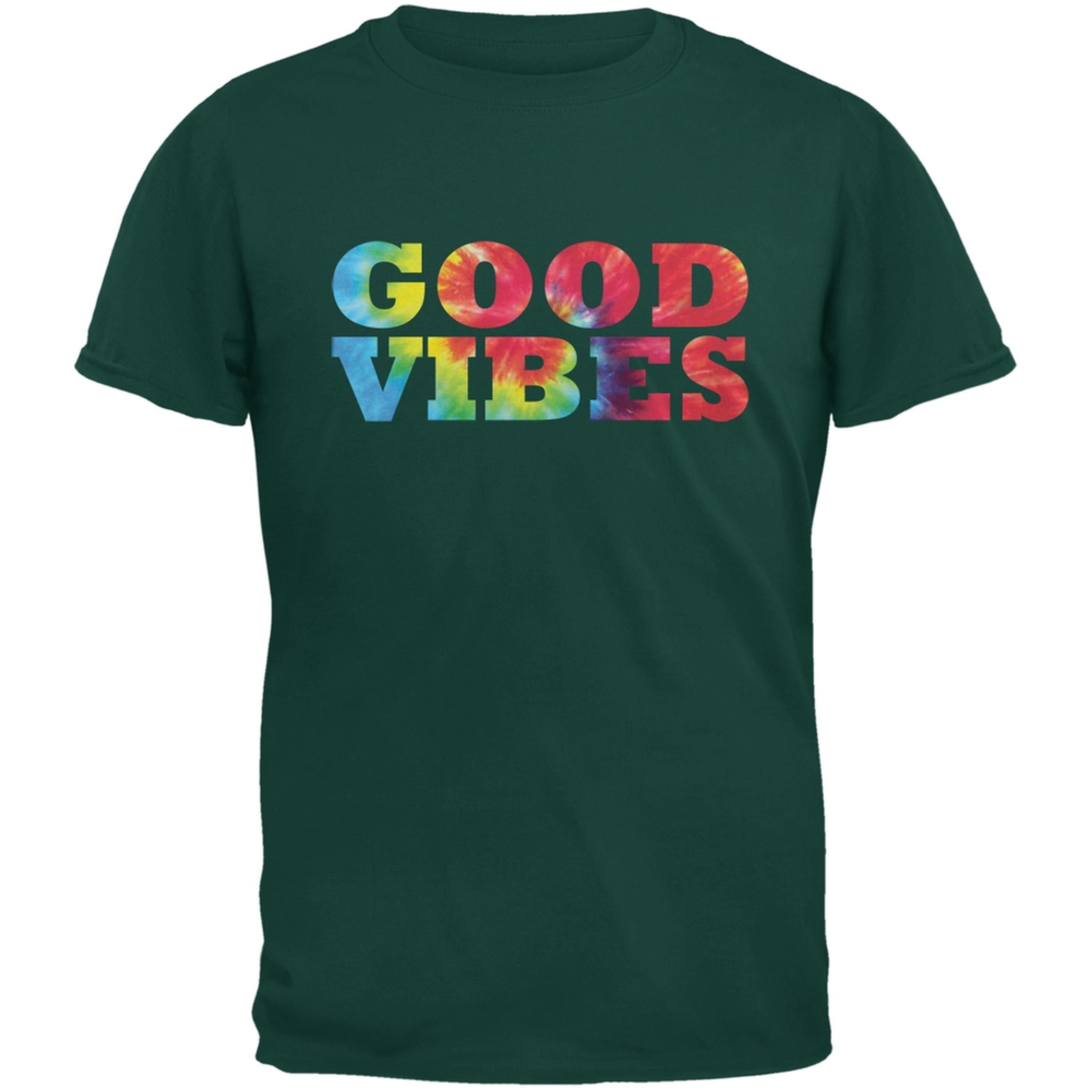 Tie Dye Good Vibes Forest Green Adult T-Shirt