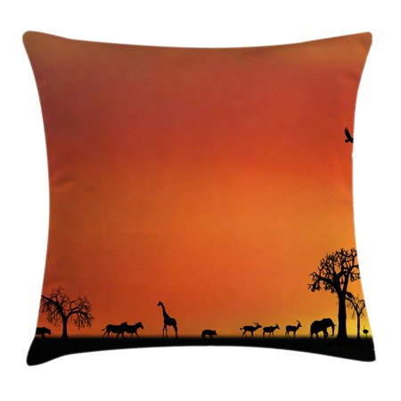 Wildlife Decor Throw Pillow Cushion Cover, Panorama of Safari Animals Gulls Reflections in Background at Sunset, Decorative Square Accent Pillow Case, 16 X 16 Inches, Burnt Orange Black, by Ambesonne