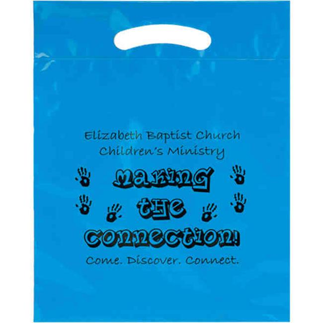 AAB 12DC1519 Plastic Bag with Die Cut Fold-Over Reinforced Handle with 3 inch Gusset - Pack of 250
