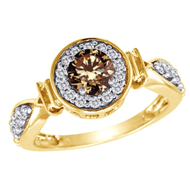 White & Champagne Natural Diamond Frame Fancy Engagement Ring in 14K Yellow Gold (1 cttw)