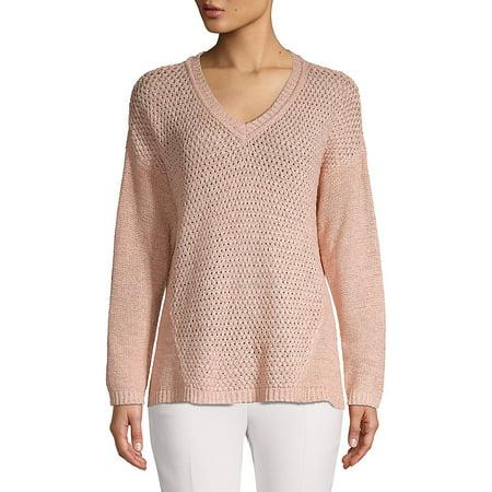 V-Neck Pointelle Panel Sweater