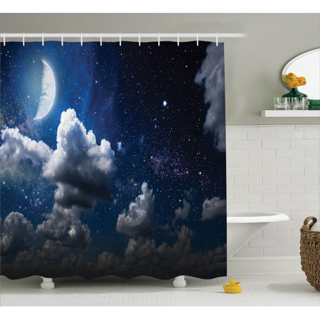 Space shower curtain set celestial solar night scene for Space themed bathroom accessories